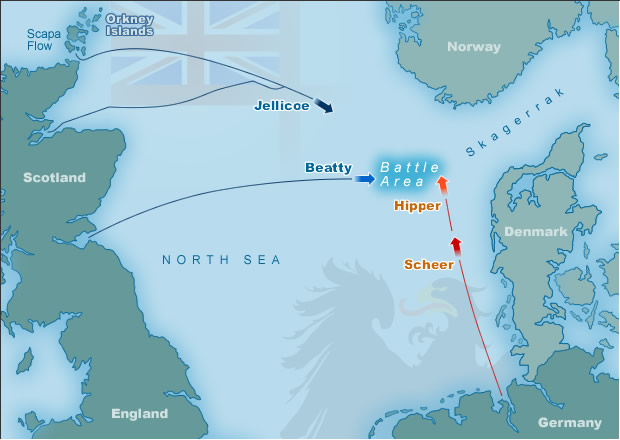 Map Of Germany North Sea.Map Displaying Battle Of Jutland Battle Area Fleet Positions At