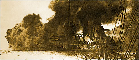 The German ship SMS Seydlitz heavily damaged, flooded and on fire following the Battle of Jutland.